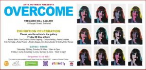 Overcome exhibition flyer featuring artwork by Chelsea Feilding