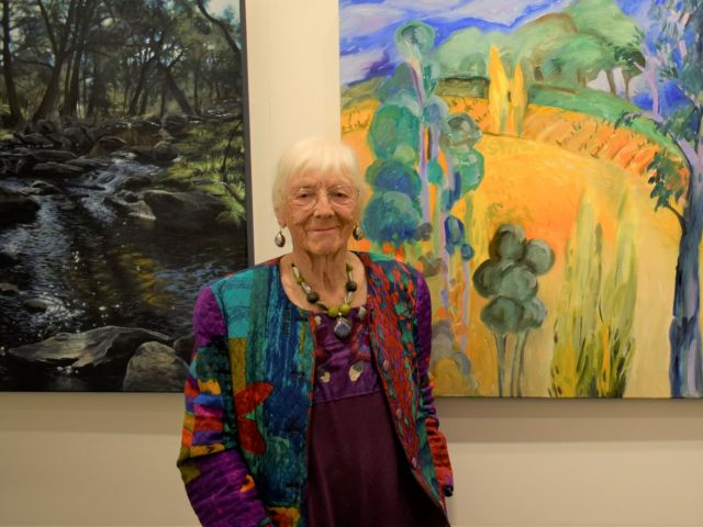 ADA CLARK Co-Winner Major Prize - on right her work 'Colours of Autumn' on left JOEL TONKS 'Late Afternoon, Ophir' (detail) Highly Commended