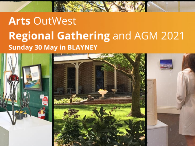 Arts OutWest AGM banner of images including exhibitions at Platform Arts Hub (credit Zenio Lapka) and Athol Gardens
