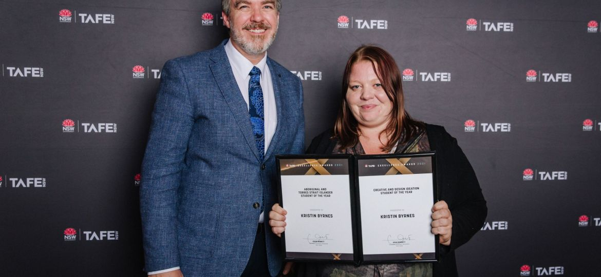 Caption: Kristin Byrnes with RGM Adam Bennett at the recent TAFE NSW Excellence Awards.